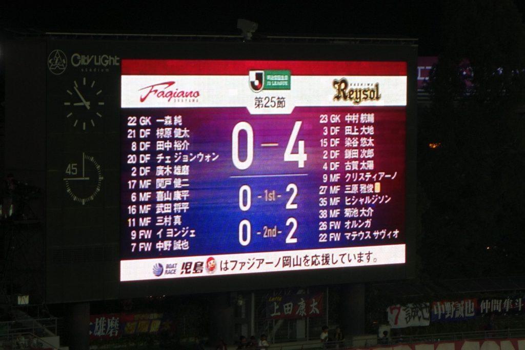 ファジアーノ岡山vs柏レイソル