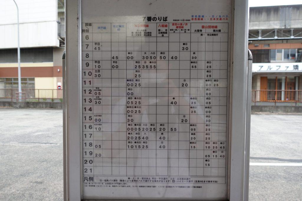 鳥取駅バス時刻表(7番のりば)