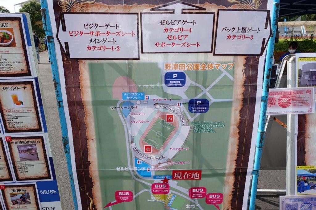 町田GIONスタジアムの案内図